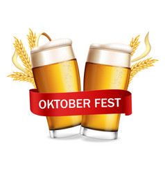 Beer glasses october fest poster realistic vector