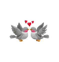 birds in love isolated hearts above lovers vector image