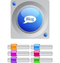Blog color round button vector