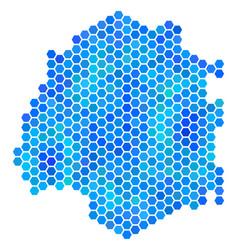 Blue hexagon thassos greek island map vector