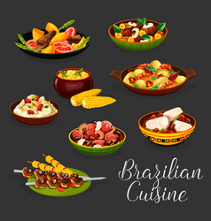 brazilian meat dishes with vegetables and seafood vector image