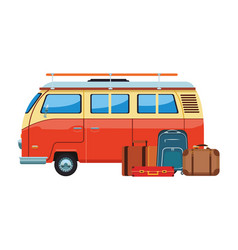 Camper van and baggage vector