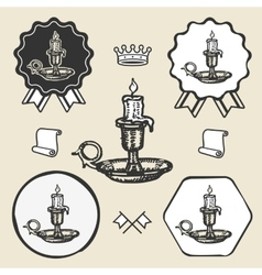Candle vintage symbol emblem label collection vector image