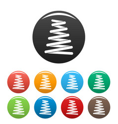 car spring coil icons set color vector image