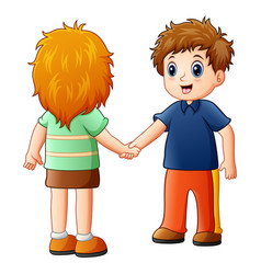 Cartoon boy and girl shaking hands vector