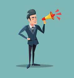 Cartoon businessman with megaphone announcement vector