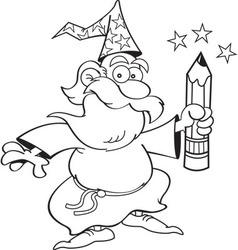 Cartoon of a wizard waving a pencil vector