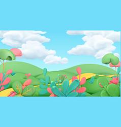 Cartoon spring landscape art 3d background vector