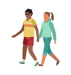 cartoon walking couple romantic family in park vector image