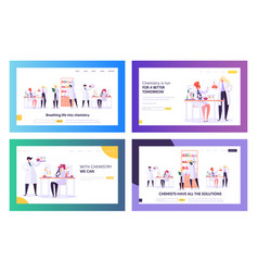 Chemistry science landing page templates vector