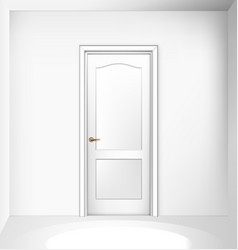 closed white entrance door on white wall vector image