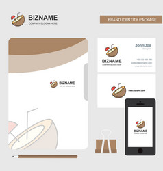 coconut business logo file cover visiting card vector image