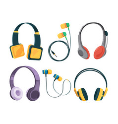 collection set of different headphones vector image