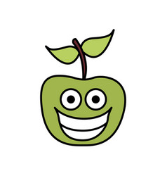 color green kawaii fruit apple happy icon vector image