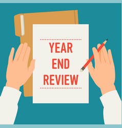 concept on year end review in business and vector image
