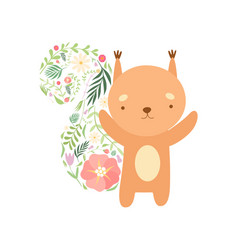 cute squirrel with tail made floral seamless vector image