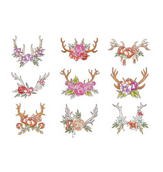 Deer horns with flowers set hand drawn floral vector