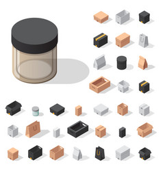 Different box isometric icons isolated move vector