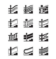 Different types of railings vector image