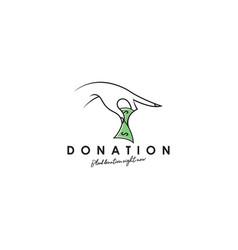 donation logo template charity logo concept vector image