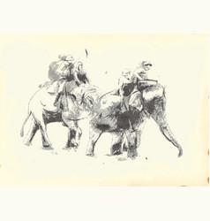 elephant polo an hand drawn vector image