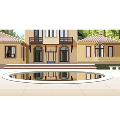 Facade of the house with a swimming pool vector