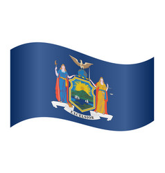 flag of new york state waving on white background vector image