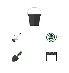 flat icon farm set of hosepipe barbecue pail and vector image