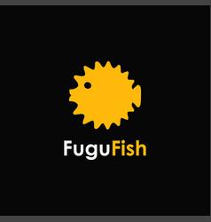 Flat minimalist fugu fish logo icon template vector