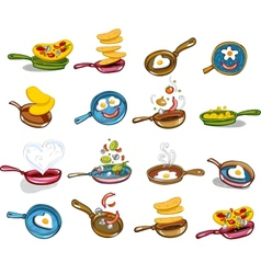 Frying pans with tasty food vector