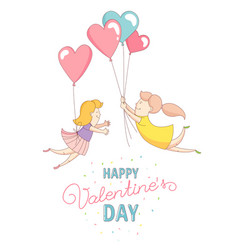 Gey women characters flying by heart balloons vector