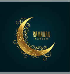 Golden moon with floral decoration for ramadan vector