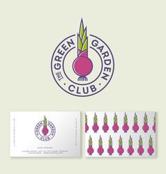 Green garden club logo organic market vegetarian vector
