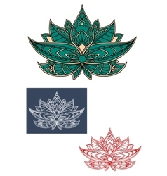 Green indian lotus flower with ornament vector image