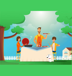 happy family eating barbecue outdoor man woman vector image
