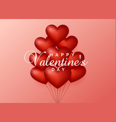 heart balloons on pink background for valentines vector image