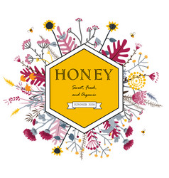 Hexagon frame with cute honey flowers and bees vector