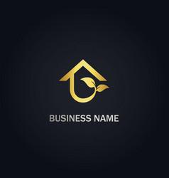 home eco leaf gold logo vector image