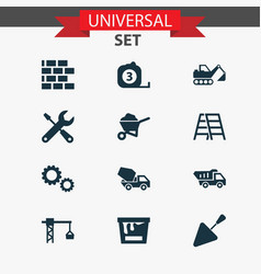 Industry icons set collection of digger cogwheel vector