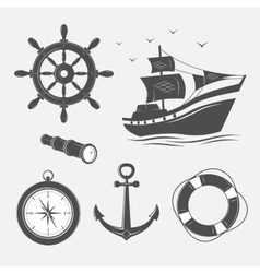 Items on the marine theme vector image