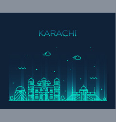 karachi skyline pakistan linear style city vector image