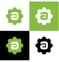 Letter a gear logo design template elements vector
