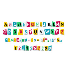 letters cut paper from newspaper vector image