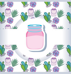 Mason jar with pattern background vector