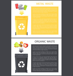 metal and organic waste set vector image