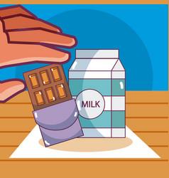Milk box and chocolate vector