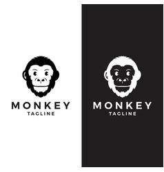 monkey head logo graphic ape animal vector image