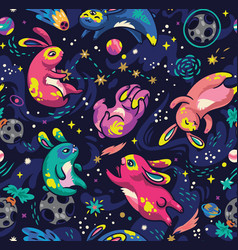 moon bunnies exploring the space seamless vector image