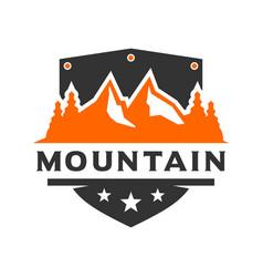 mountain scenery shield logo design vector image
