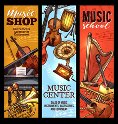 Musical instrument banner of classical folk music vector